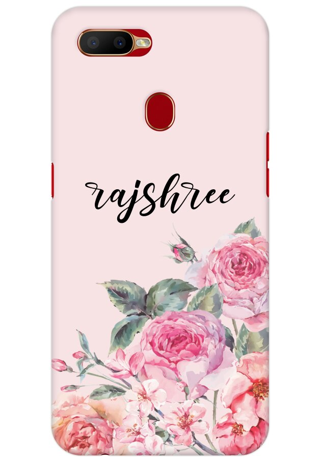 Pink Watercolor Floral Name Case for OPPO A5s